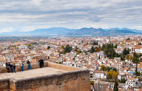 View of Granada and the mountains in the distance.