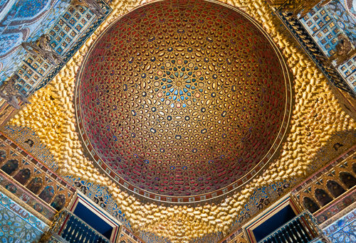 Incredibly fine details can be seen in this golden ceiling.