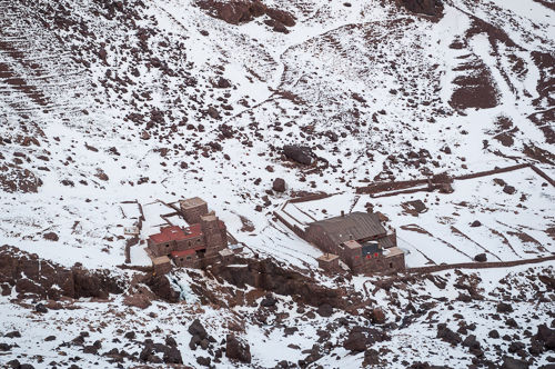 The two refuges below Toubkal.