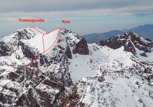 View of Ras and Timesguida from Toubkal summit taken the day before.
