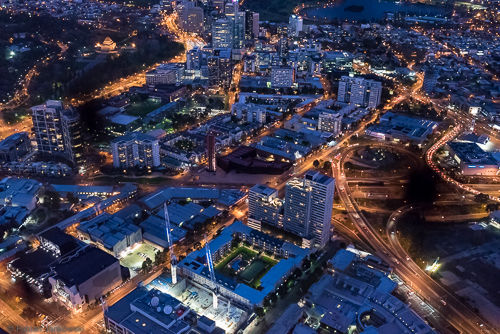 Melbourne from above at night.