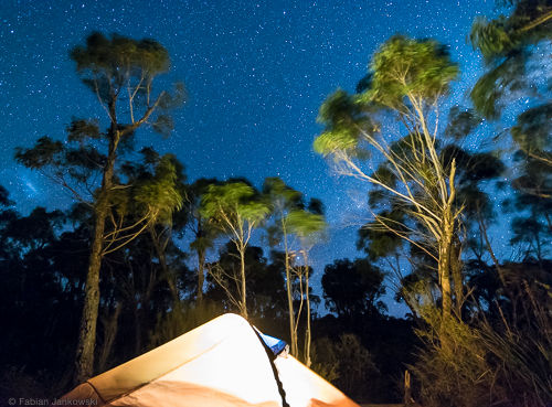 My tent in front of the night sky in the Grampians national park.