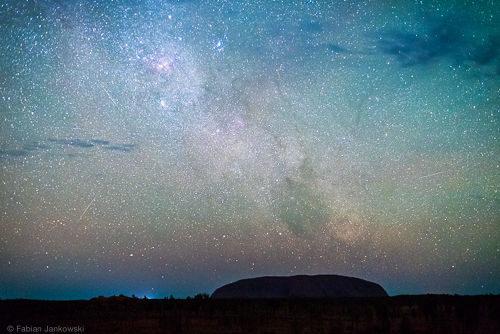 Orionid meteor shower at Uluru/Ayers Rock in the Northern Territory, Australia.