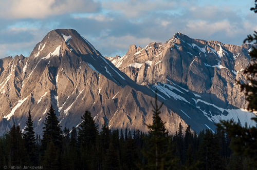 Mountain chain in the late evening sun in the Mt. Assiniboine valley.