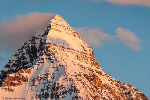 Mt. Assiniboine summit pyramid at sunset.