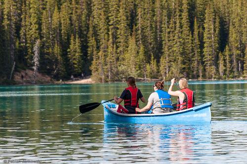 People kayaking on Moraine Lake.