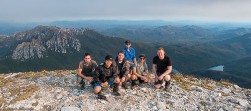 Our group on the summit of Frenchmans Cap. You can see the smoke from bushfires in the distance.
