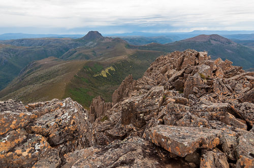 View from the summit of Barn Bluff towards Cradle Mountain.