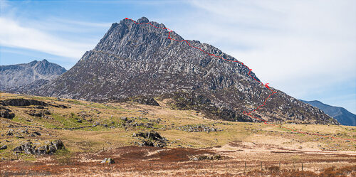 Our scrambling route across Tryfan's north ridge projected onto a photo of the mountain.