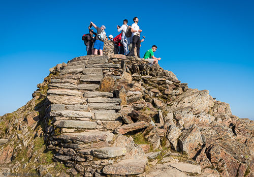 The summit of Snowdon can be a busy place in summer.