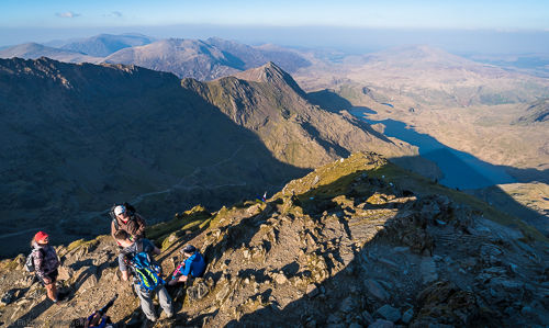 Crib Goch ridge as seen from Snowdon summit. The ridge provides high exposure to both sides.