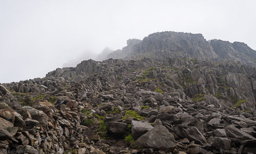 The start of Bristly Ridge in rainy and foggy conditions. This didn't stop the mainly British climbers from tackling it.