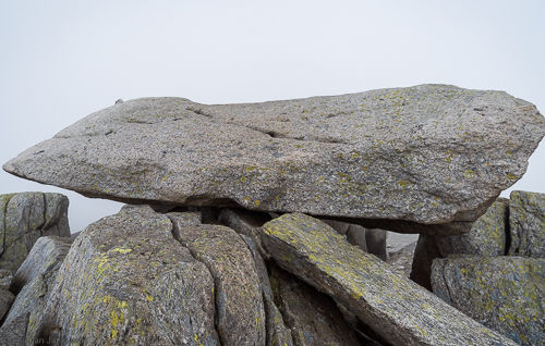 The summit stone on Glyder Fach. The last few metres to the summit require basic climbing skills.