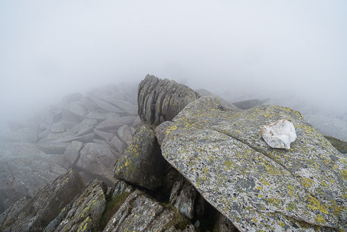 View from the summit of Glyder Fach in foggy conditions.